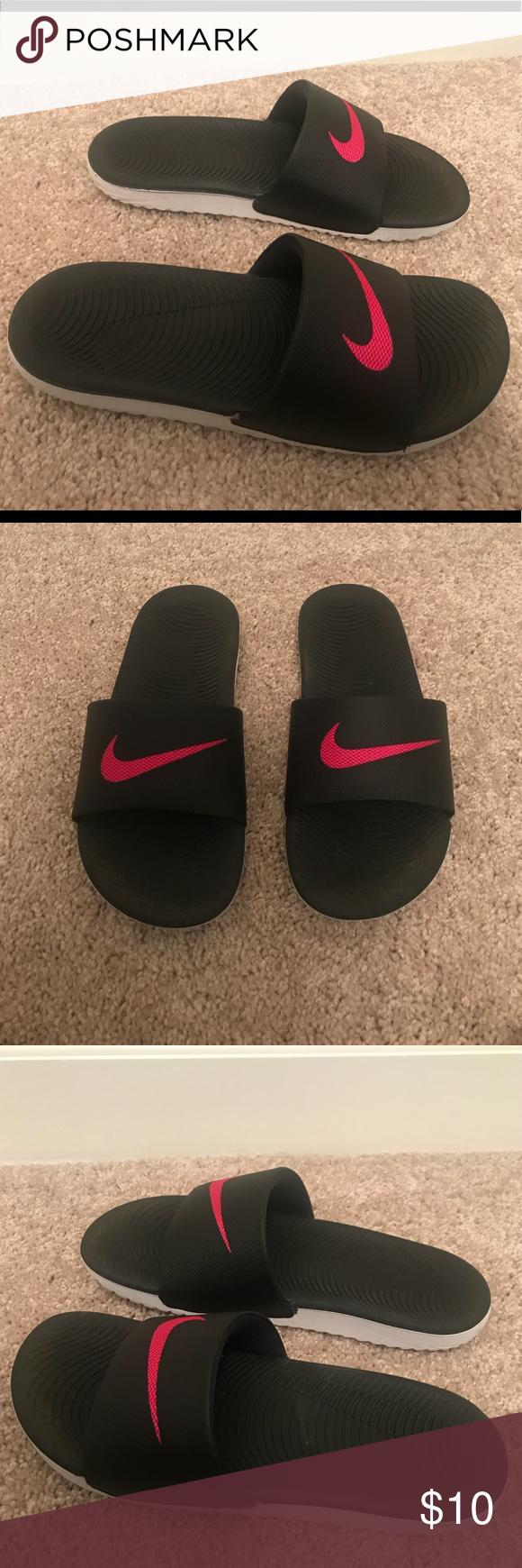962ed020464929 Black   Pink Nike Women s Sandals Slides—Size 6 Black   Pink with white