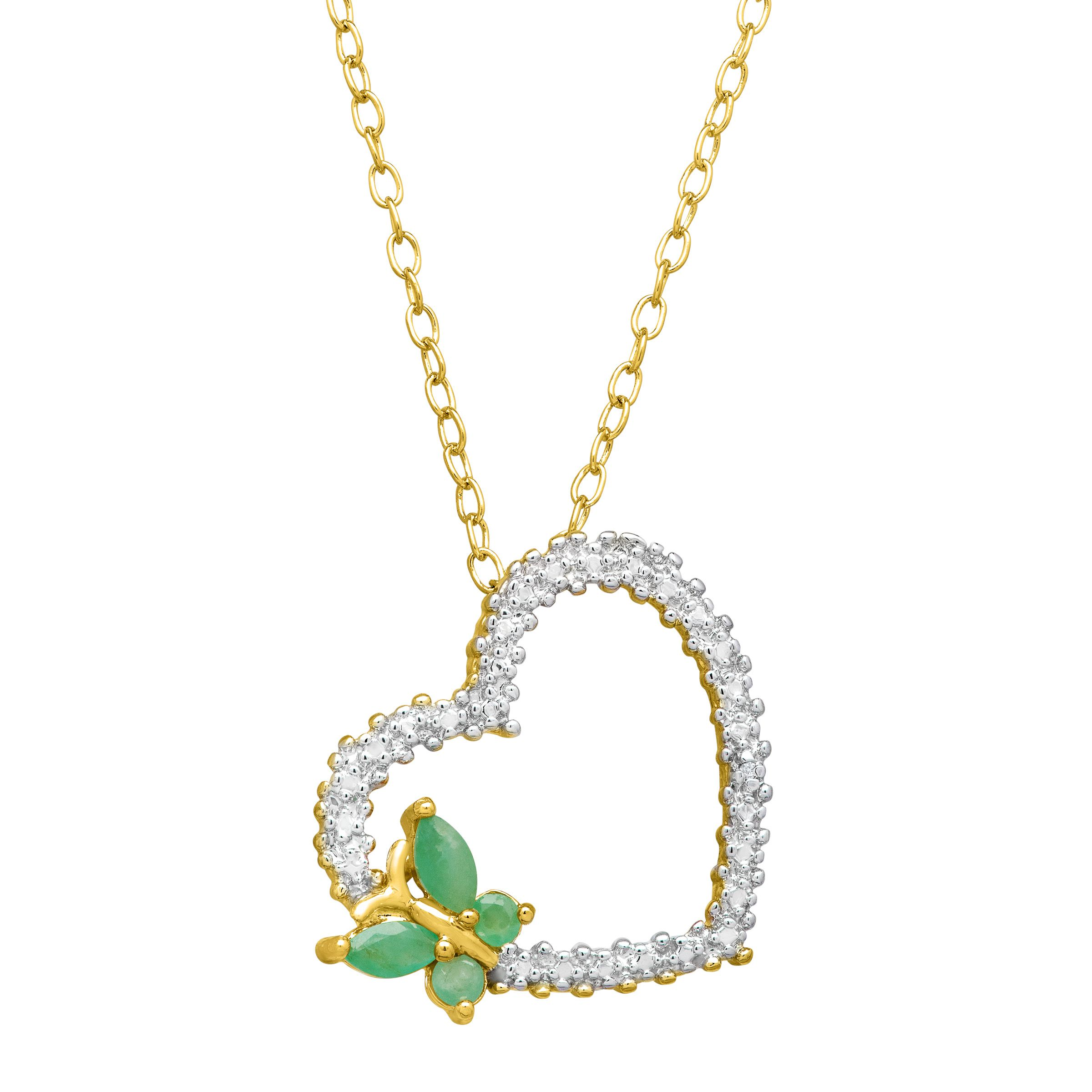 1/3 ct Emerald Butterfly & Heart Pendant Necklace with Diamond in 14K Yellow Gold & Sterling Silver-Plated Brass: Showcasing an emerald…