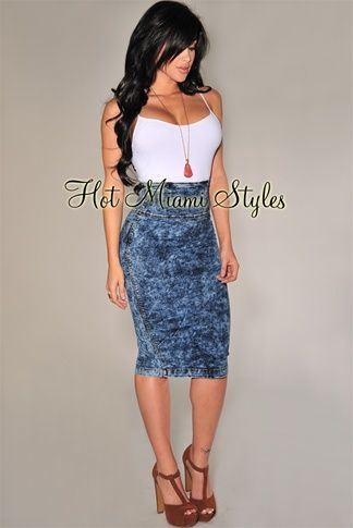 Dark Acid Wash Pencil Skirt | Get In My Closet!! | Pinterest ...