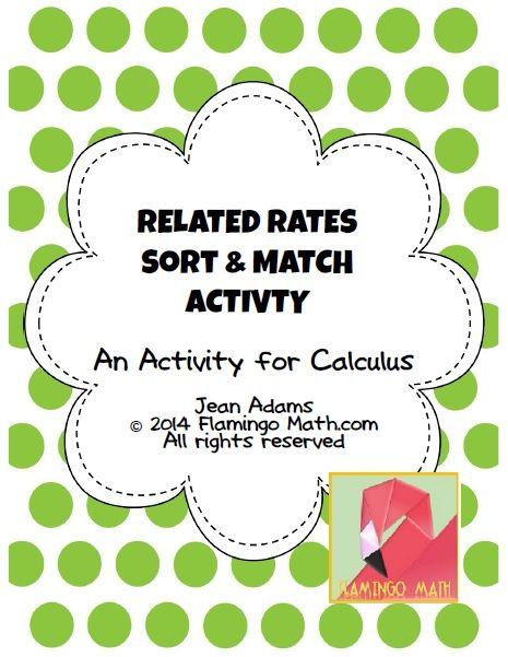 Related Rates Sort & Match Activity (Calculus - Unit 3) | I
