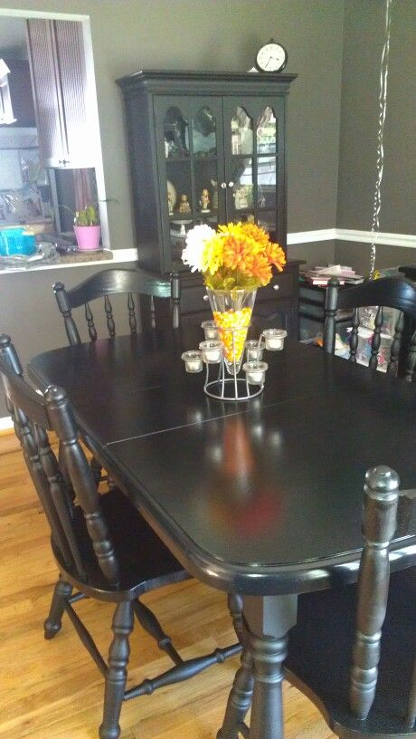 Totally Refinished Dining Room Set Hutch In The Back Looks Like New