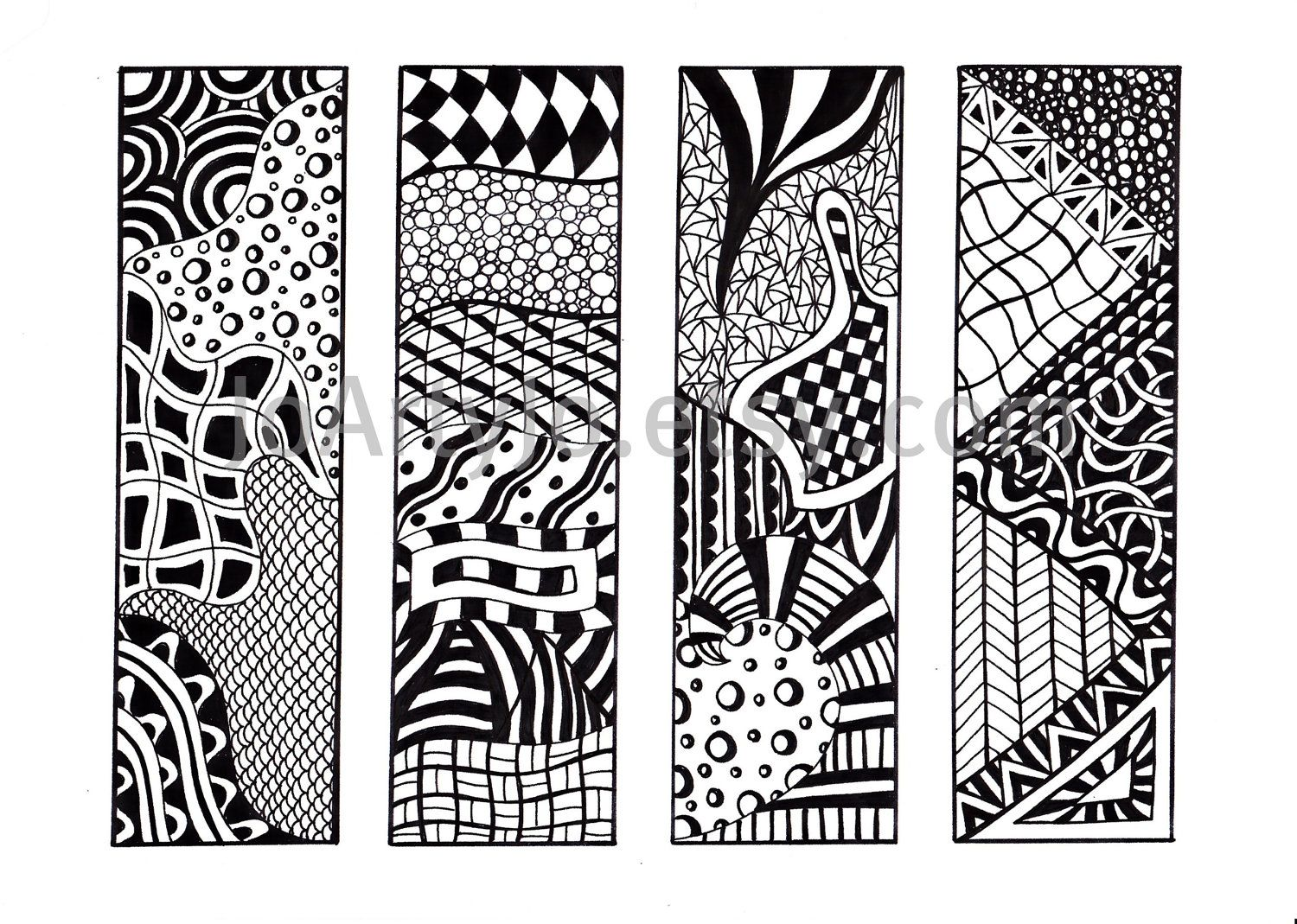 printable bookmarks, zendoodle bookmarks, black and white, zentangle