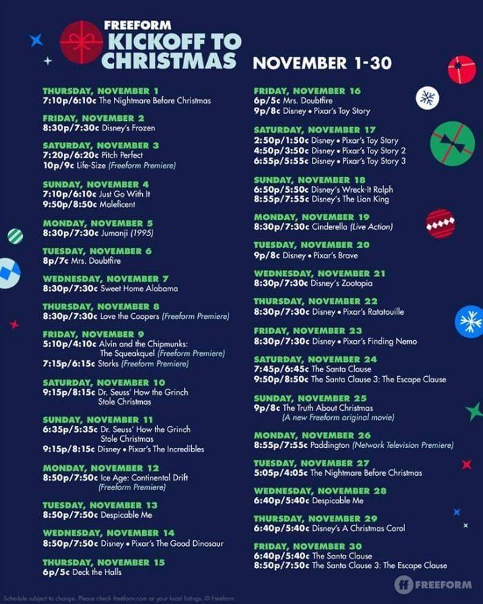 2018 Christmas Movie Schedule On Tv In 2020 Movie Schedule Abc Family Christmas Movies 25 Days Of Christmas