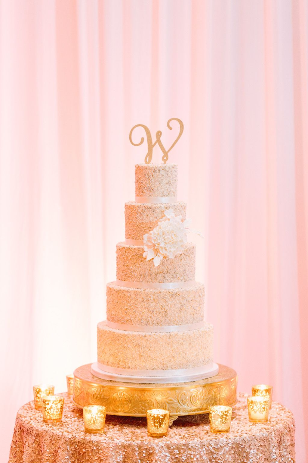 Luxurious gold and white clearwater beach wedding gold cake stand