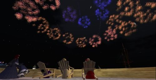 Second Life avatars in Regency attire admire the display of fireworks over newly-created Port Austen. http://maps.secondlife.com/secondlife/Antiquity%20Argyle/71/74/26