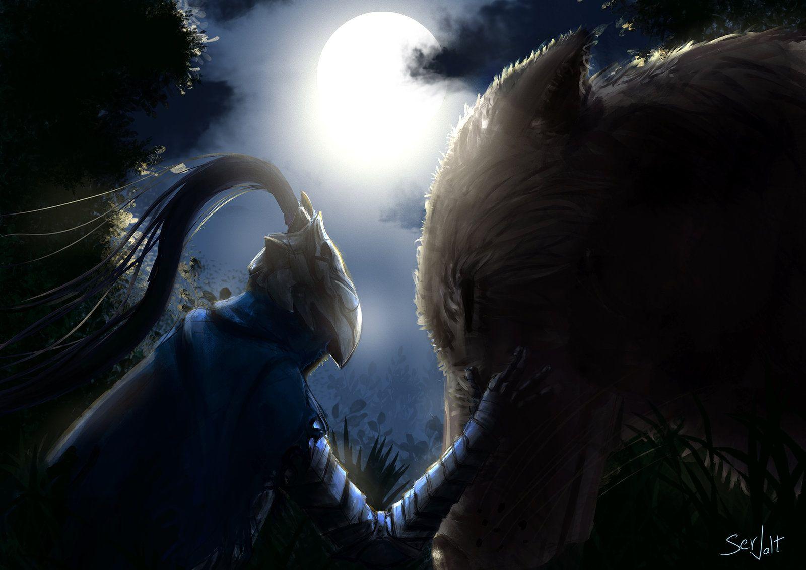 http://www.deviantart.com/art/Artorias-and-sif-457091022