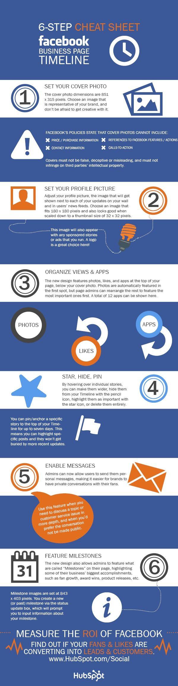 6 steps cheatsheet Facebook Business Page Timeline
