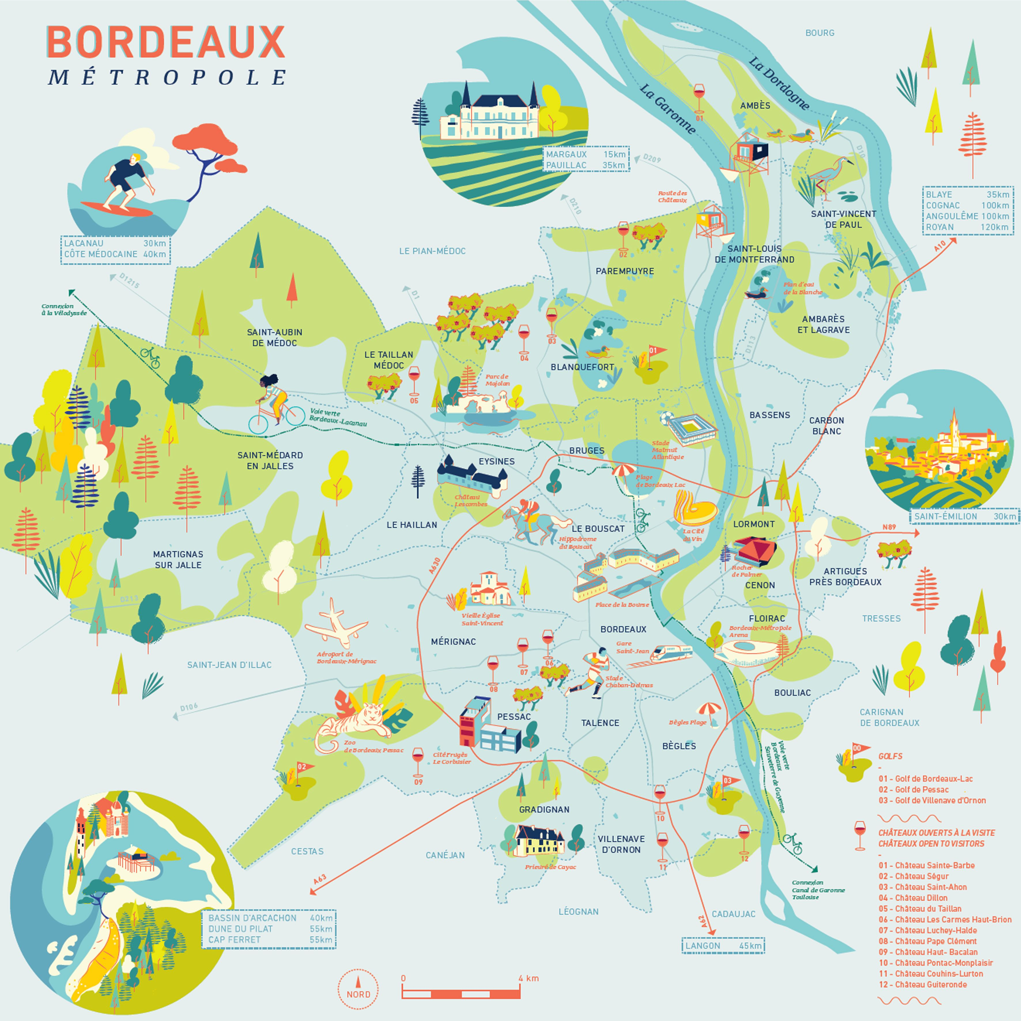 Mapa Turistico De Toulouse.Carte Illustree De Bordeaux Metropole Tourisme Cartes Illustrees Bordeaux Tourisme Carte Touristique