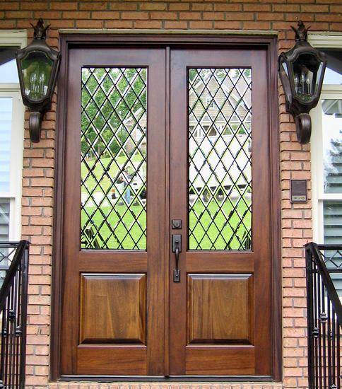 Front door love the beveled glass shut the front door pinterest front doors doors and for Stained glass exterior front doors