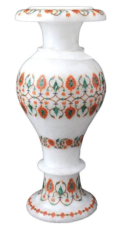 12 White Marble Flower Vase Malachite Inlay Floral Arts Marquetry Decor Gifts Agraheritagemarblecrafts Marblevase Flower Vases Floral Art Modern Flower Vase