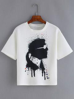 White Short Sleeve Portrait Print T-Shirt