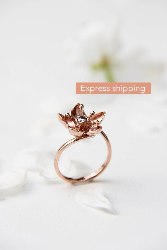 Apple blossom rose gold ring for engagement, Unique diamond
