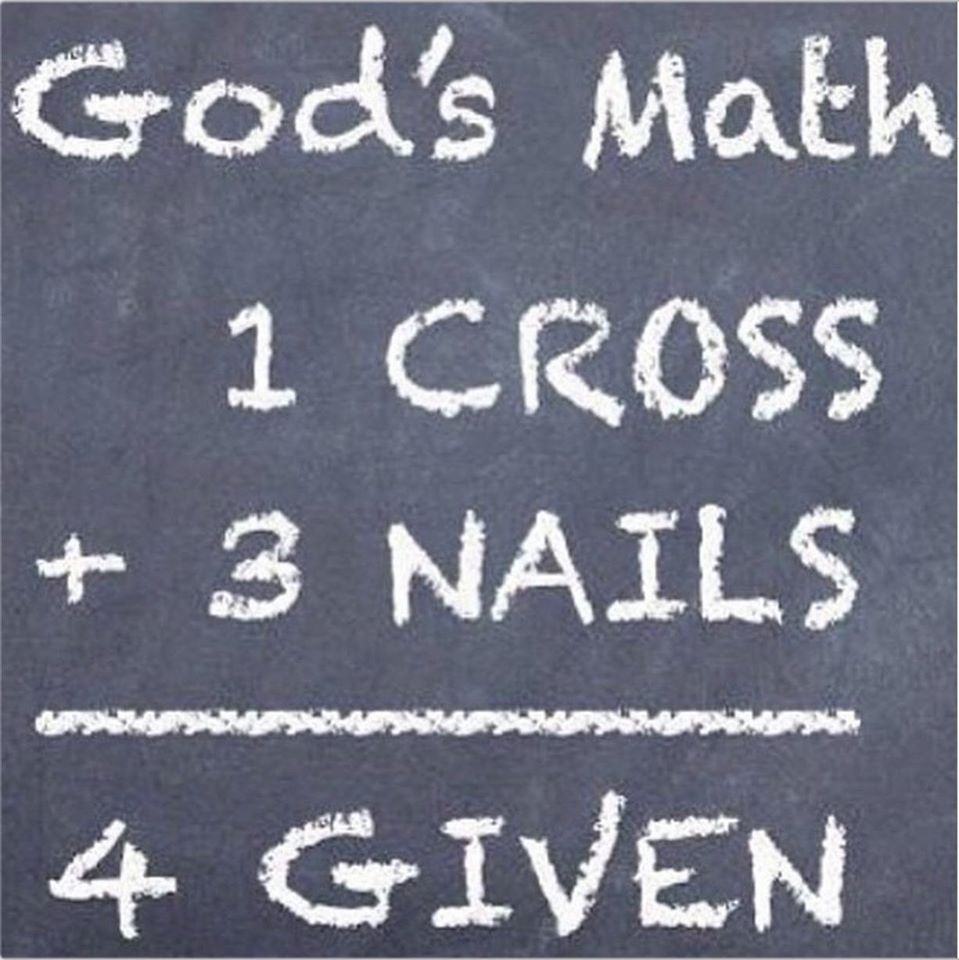 God's Math 1 Cross + 3 Nails = 4 Given | Positive Points to