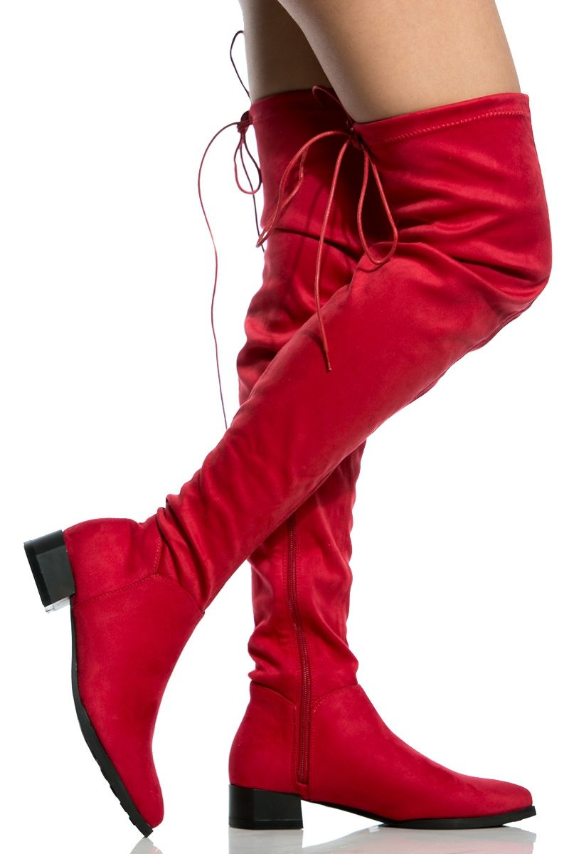 e6a3622d0af Red Faux Suede Flat Pointed Toe Thigh High Boots   Cicihot Boots  Catalog women s winter boots