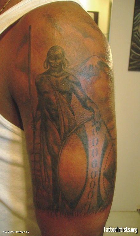 attractive african warrior tattoo on left half sleeve cool tats pinterest warrior tattoos. Black Bedroom Furniture Sets. Home Design Ideas