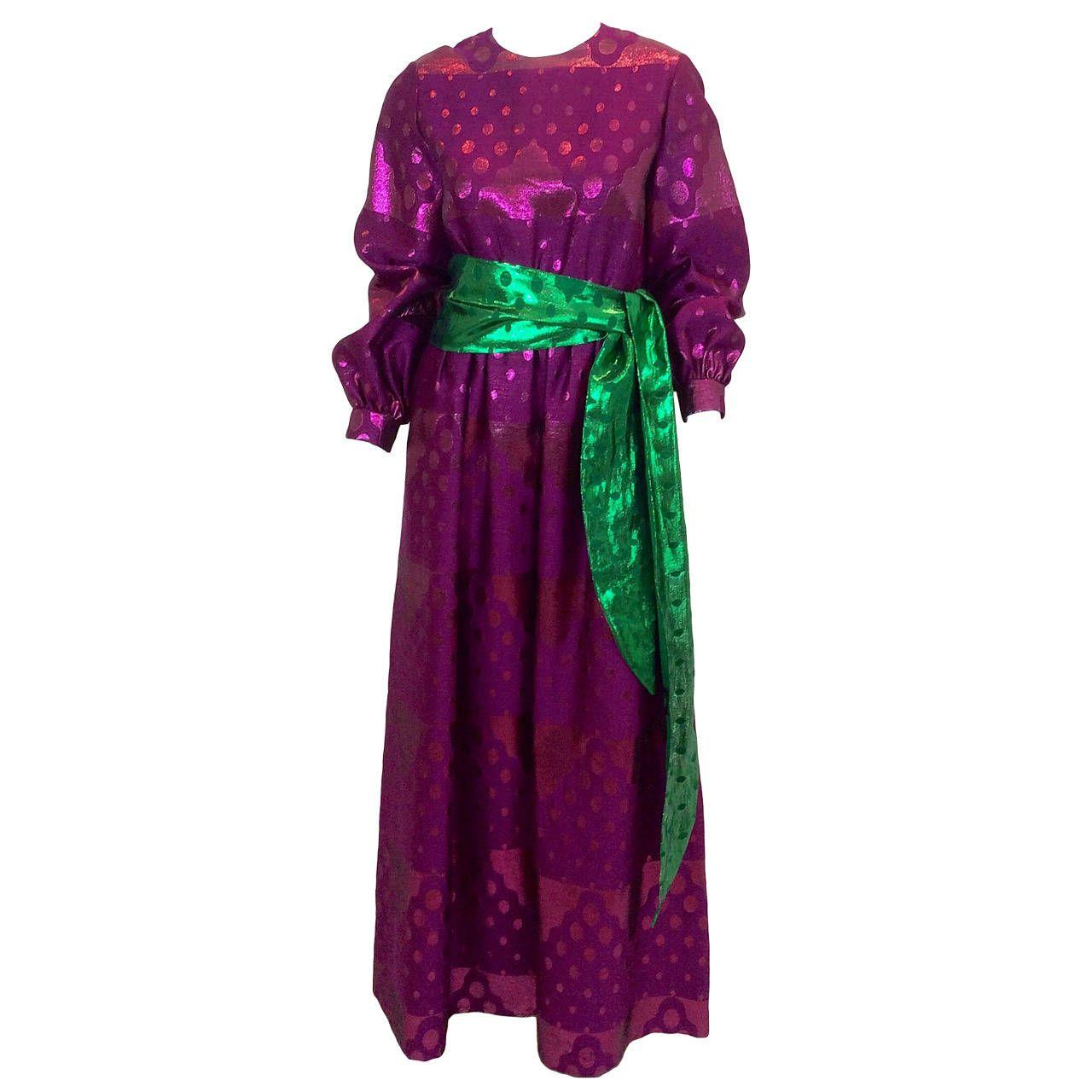 Oscar De La Renta 1960s Metallic Purple and Green Dress | Oscar de ...