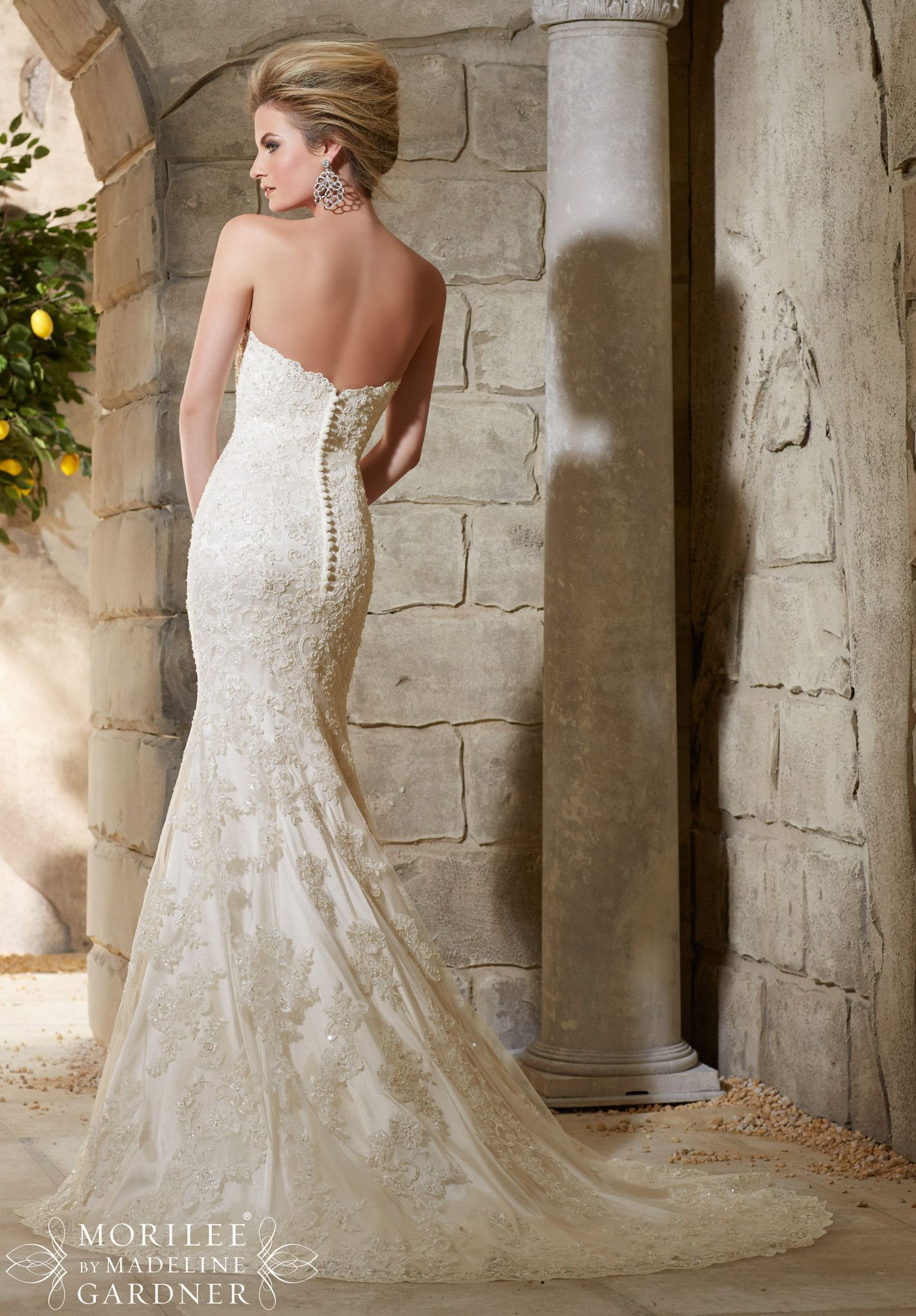 Best wedding dresses for broad shoulders   Best images about mori lee on Pinterest  Lace Satin and Flare