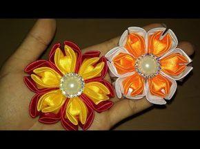 DIY || Cara Membuat Bros Bunga || Kanzashi Flower 13 - YouTube