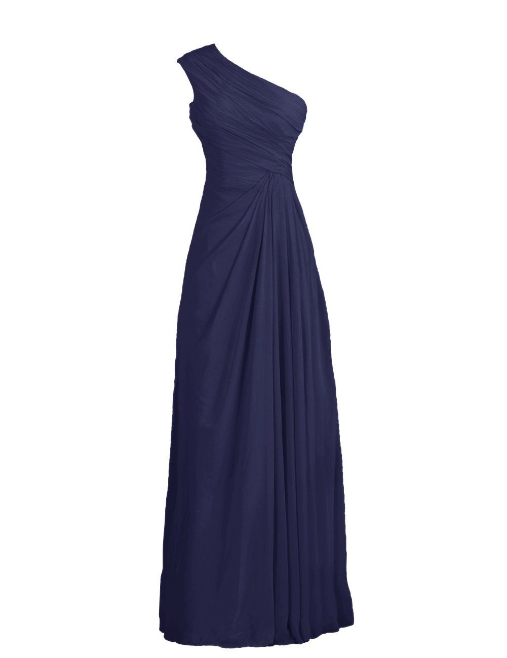 Tidetell Simple One Shoulder Long Party Evening Chiffon Bridesmaid Dresses Navy Size 14