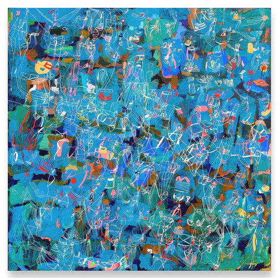 Blue Springs  Abstract painting Acrylic by SarahGiannobile on Etsy