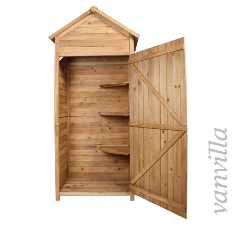Vanvilla Gerateschrank Gartenschrank Gerateschuppen Satteldach Dunkel Holz Gerateschuppen Gartenschrank Dunkles Holz