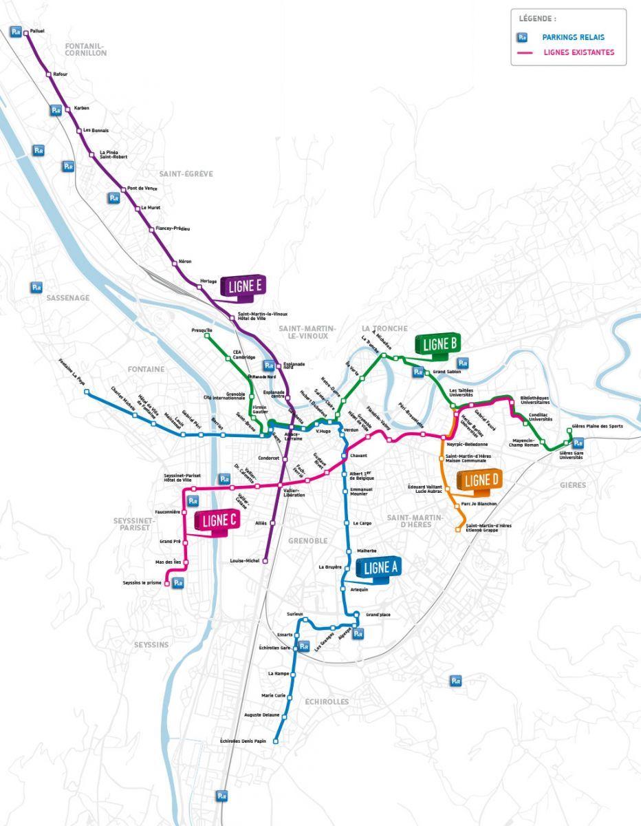 Lignes tram grenoble plan tram grenoble tram saint egrve tram