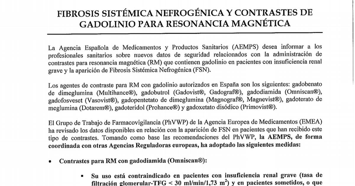 Ni 3 Gadolinio Omniscam Pdf Insuficiencia Renal Productos Sanitarios Pacientes