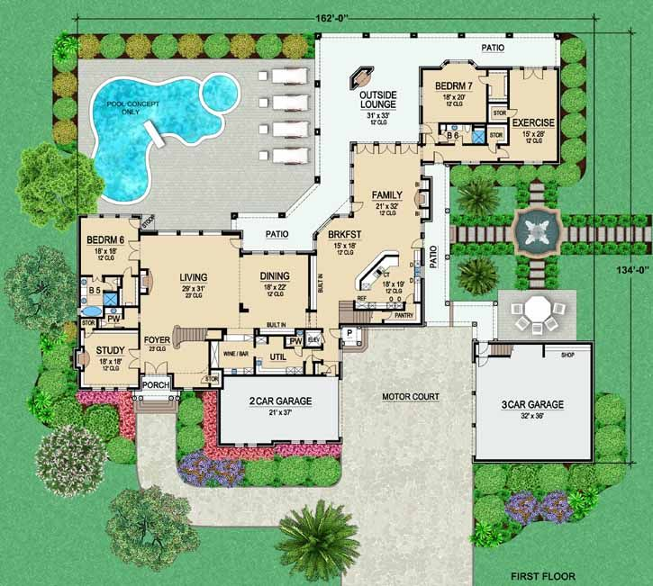 Bedrooms. Main Floor Plan   Dream homes   Pinterest   Monster house  Plan