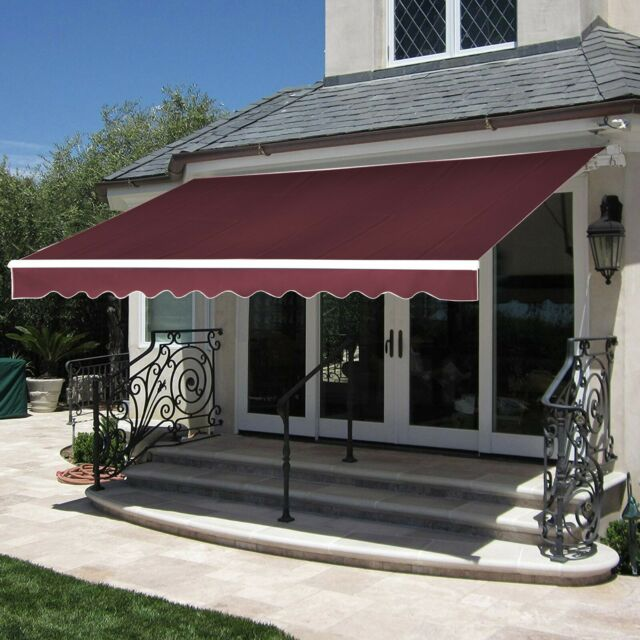 Hago 10 X 8 Patio Manual Retractable Awning Window Door Sunshade Shelter For Sale Online Ebay With Images Patio Awning Canopy Outdoor