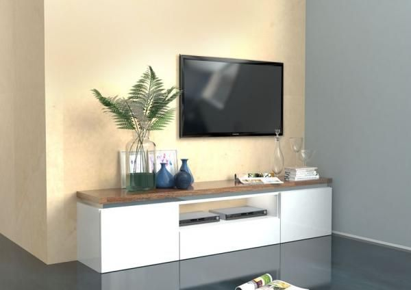 Pietra Modern TV Table In White/American Walnut Effect Finish With A Light