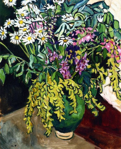 ❀ Blooming Brushwork ❀ - garden and still life flower paintings - Louis Valtat | Wild Flowers in a Green Vase, 1917