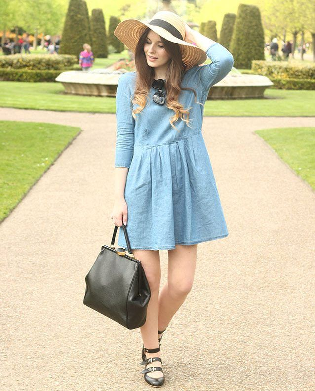 chambray dress 2017 with chic hat