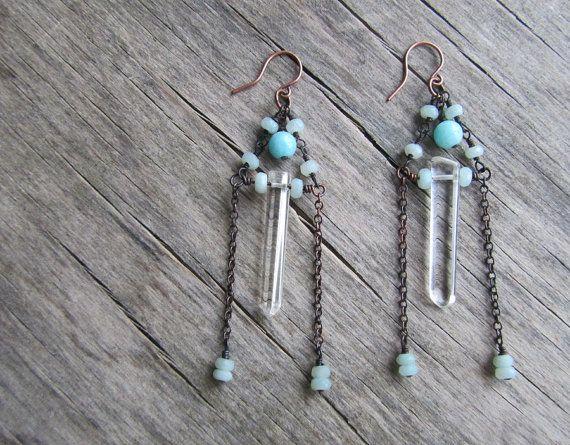 Long boho earrings gemstone earrings blue door PixiesForest