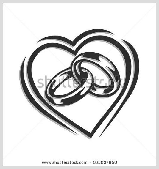 Eheringe clipart schwarz weiß  Wedding ring in heart vector illustration isolated on white ...