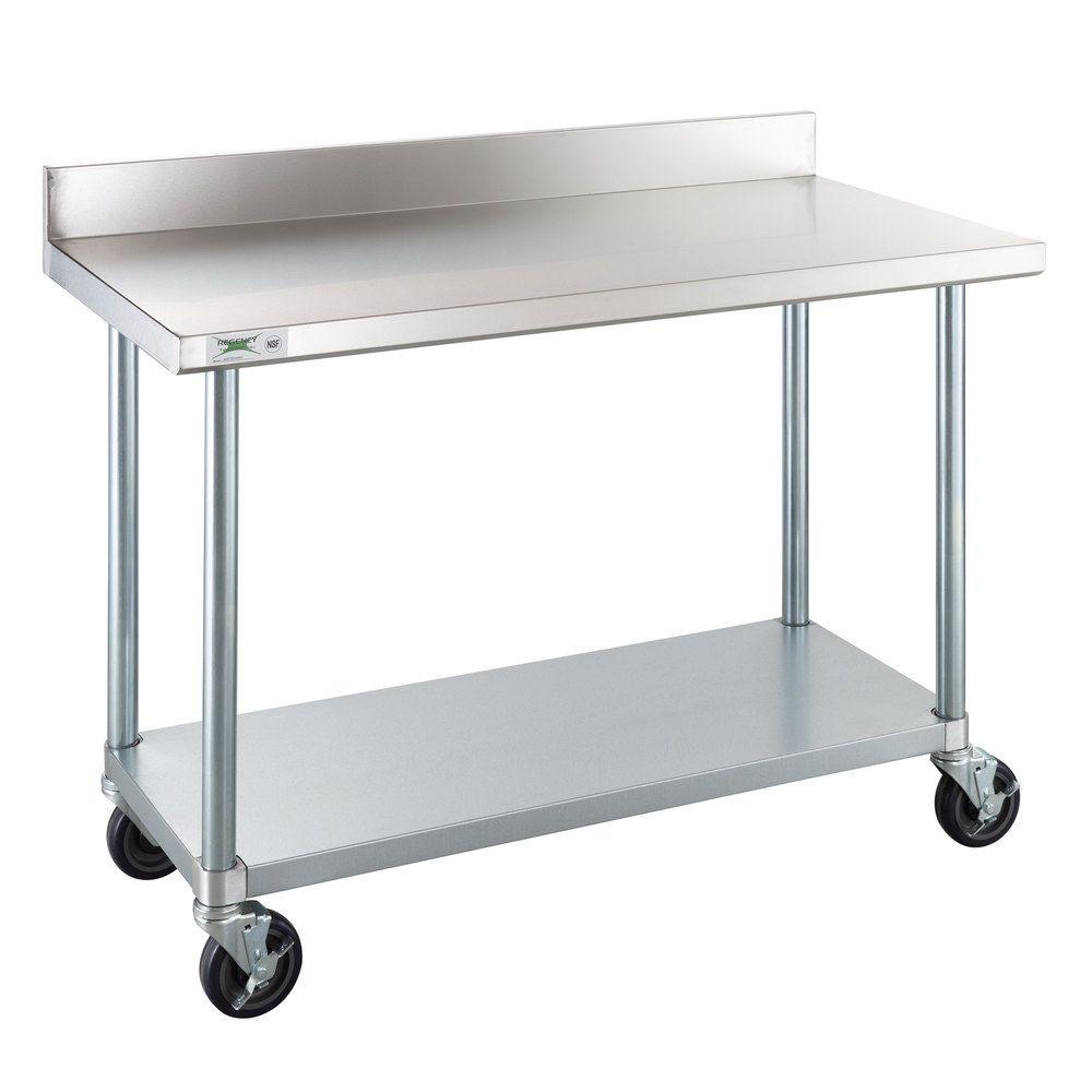 Regency 24 X 48 18 Gauge 304 Stainless Steel Commercial Work Table With 4 Backsplash Galvanized Legs Undershelf And Casters Work Table Portable Work Table Stainless Steel Work Table