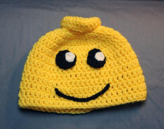 Newborn Infant Child Size Crochet Lego Man Hat by TheYarnFool