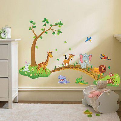 Animales adhesivo pared decoraci n hogar vinilo mural - Dibujos habitacion bebe ...