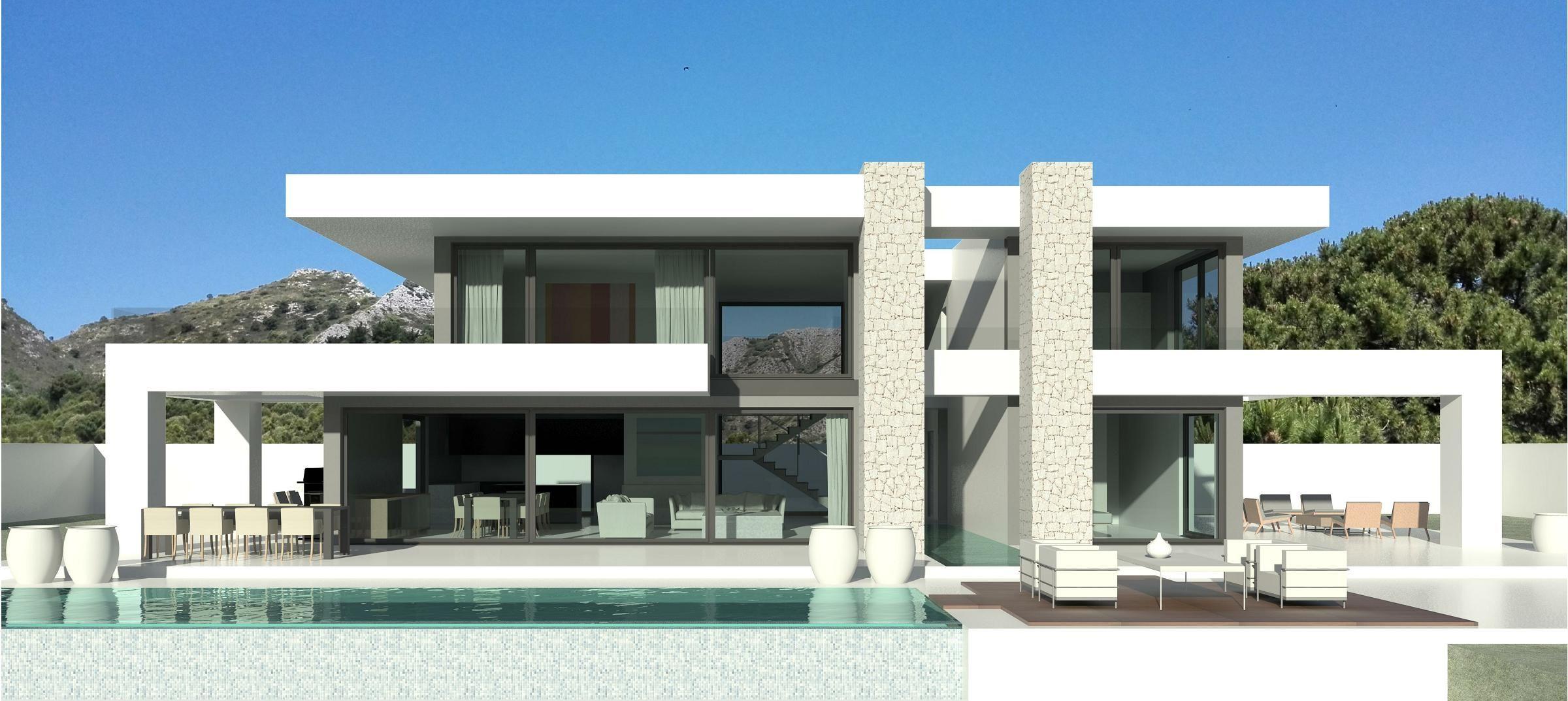 Sculptural designer turnkey villa in the 5 villa padierna for Moderne villa