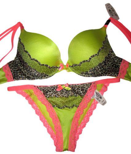 7dc4a9d196 Victoria Secret bra 32B set very sexy gel curve padded push up animal neon
