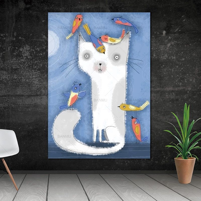 Wall Art Picture Animal Cat Poster Canvas Painting Printspicture Home No Frame With Free Shipping Worldwide Weposters Com Cat Wall Art Wall Art Pictures Peacock Wall Art