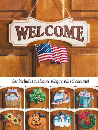 Welcome Sign Decor Simple 10 Piece Set Multi Holiday Interchangeable Seasonal Welcome Sign Review