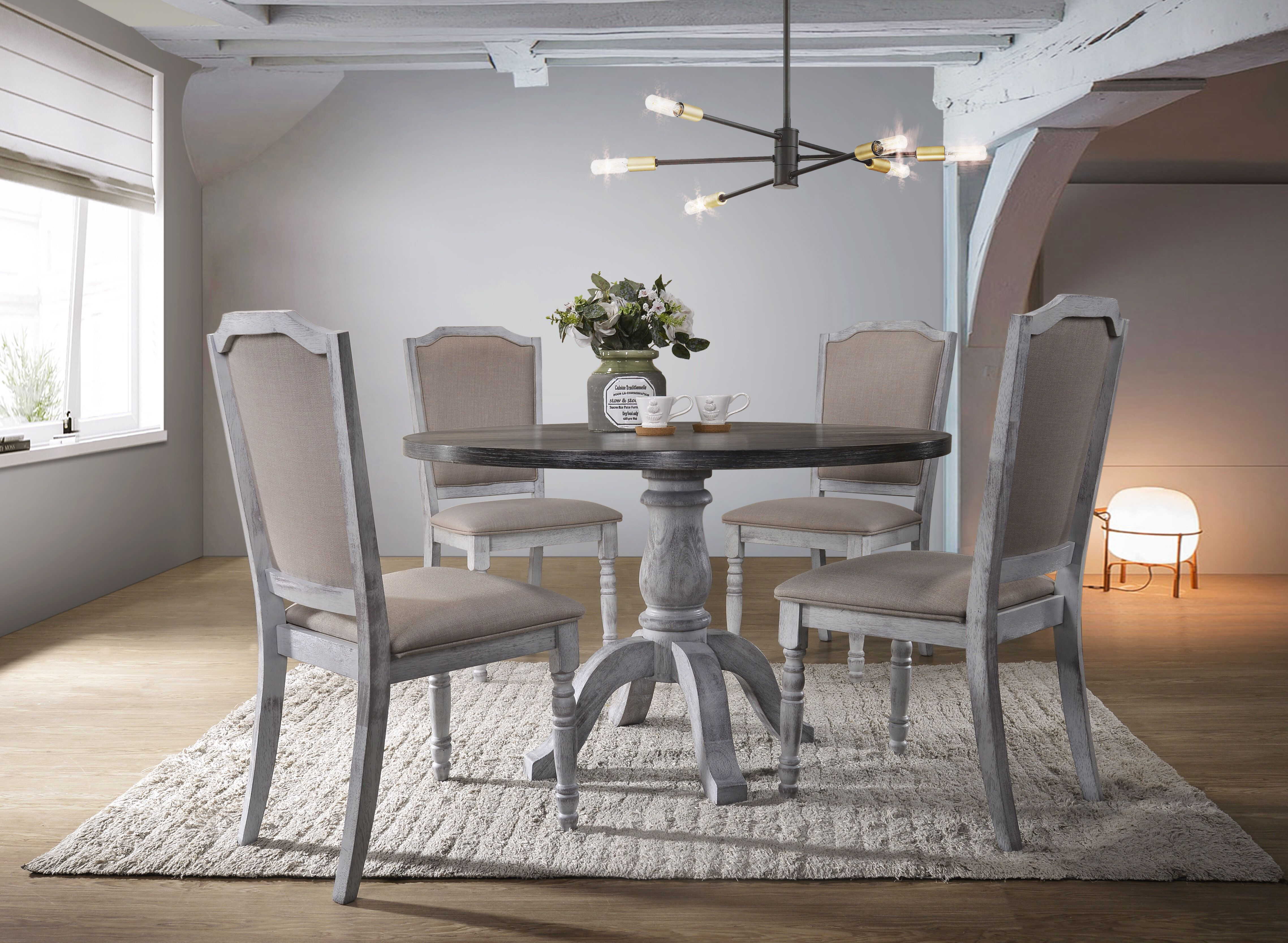 Scarlett 5 Piece Dining Set Round Wood Dining Table Best Master Furniture Dining Table