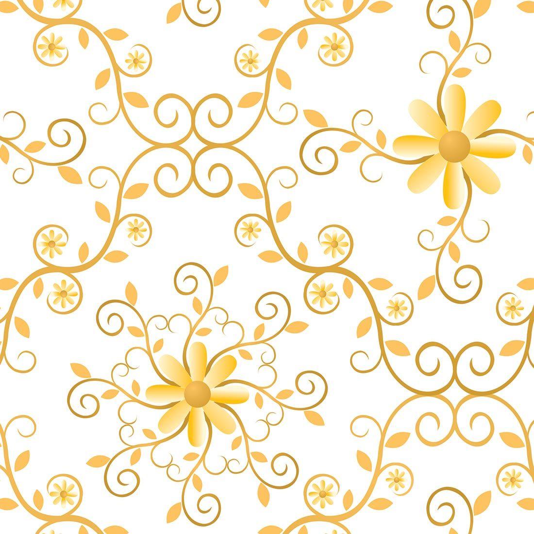 Papel de parede floral com arabesco em tons de dourado - Papel de pared retro ...