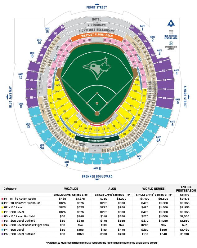 Postseason Seating Map And Prices Toronto Blue Jays Special