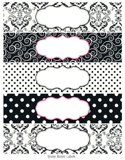 Black and White Damasks: Free Printable Toppers and Labels
