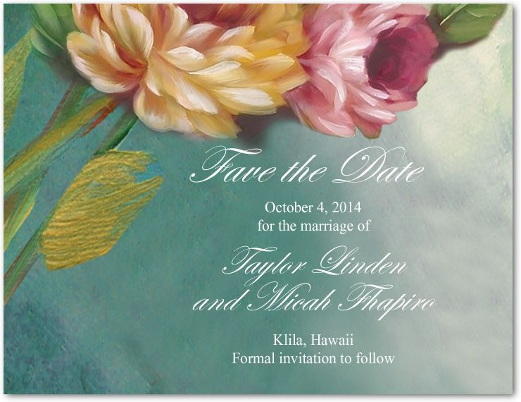 Beautiful Oil Painting Style Flower Save The Dates Card HPS081