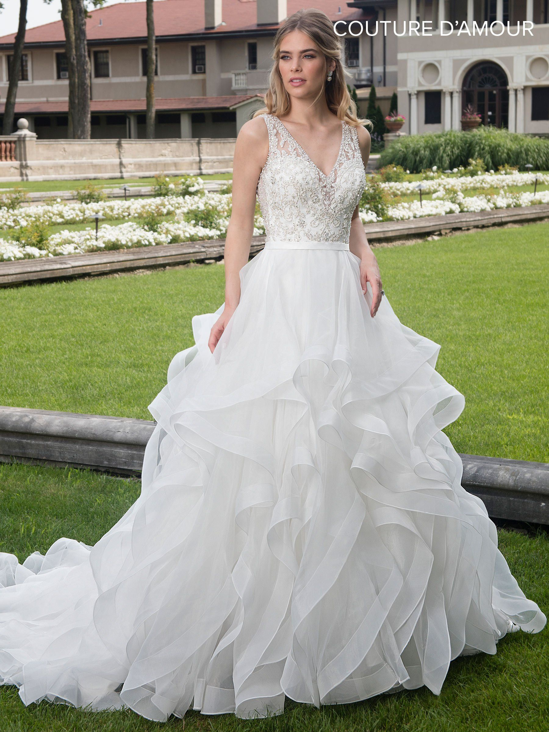 Ruffled vneck wedding dress by maryus bridal mb weddings