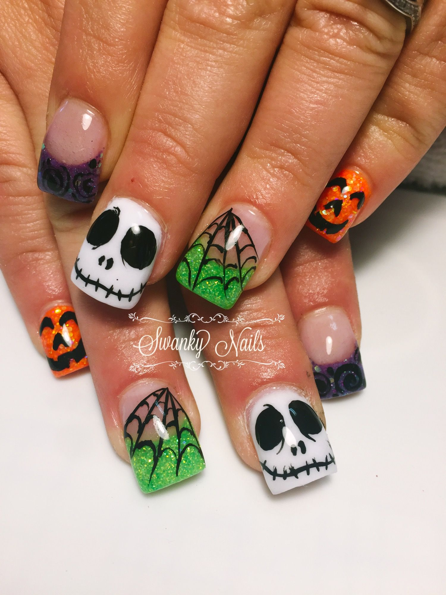 Nightmare Before Christmas Nails Halloweennails Swnkynails Swankynailsnwa Nightmare Before Christmas Nails Halloween Acrylic Nails Halloween Nail Designs