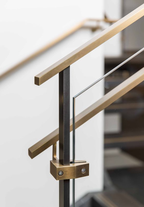 Brass Handrail And Fixture Glass Stairs Glass Staircase