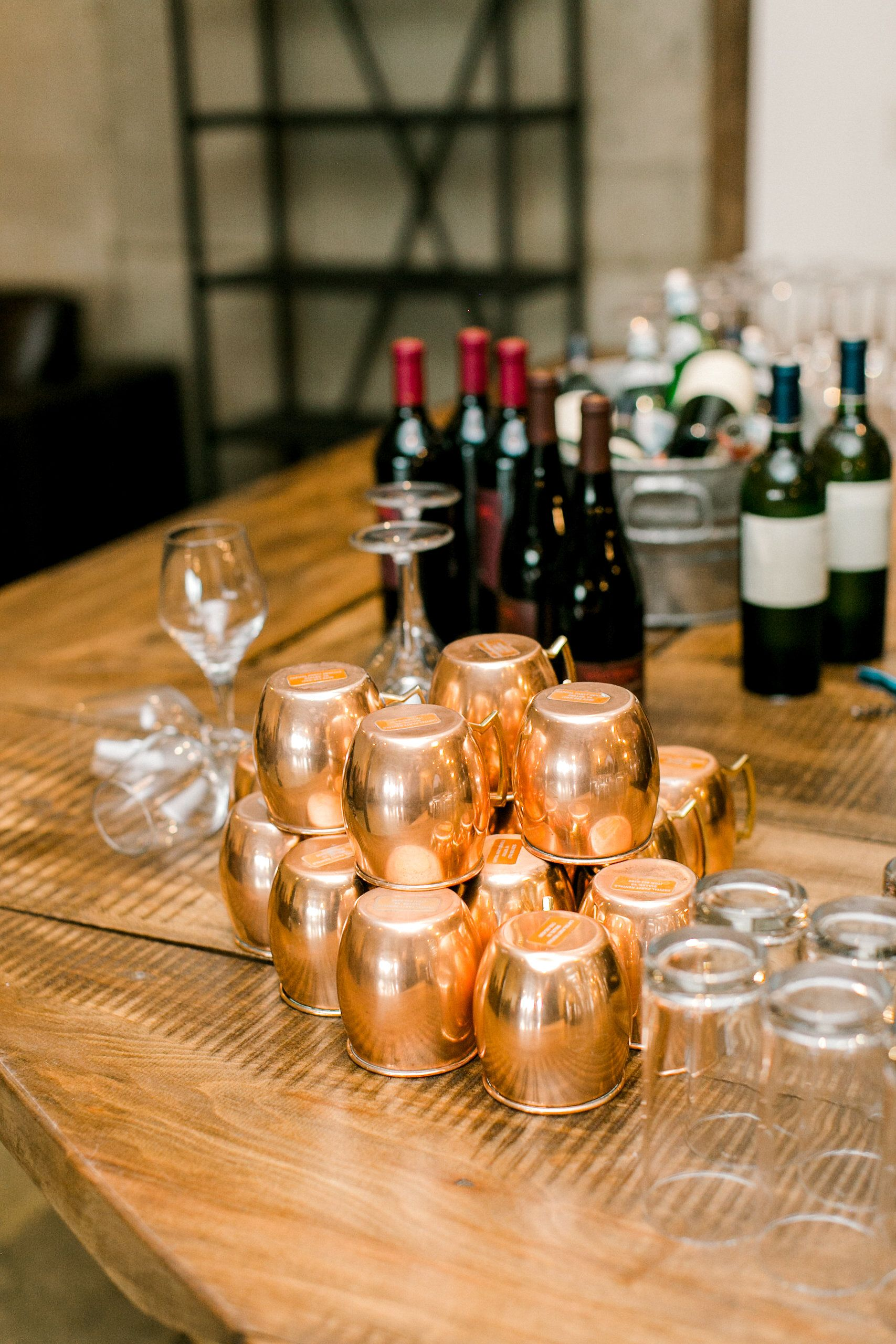 Copper mugs waiting to hold moscow mules photo by kelly